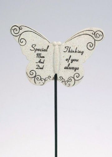Special MUM & DAD Butterfly Sentimental Memorial Grave Stick DF13264F